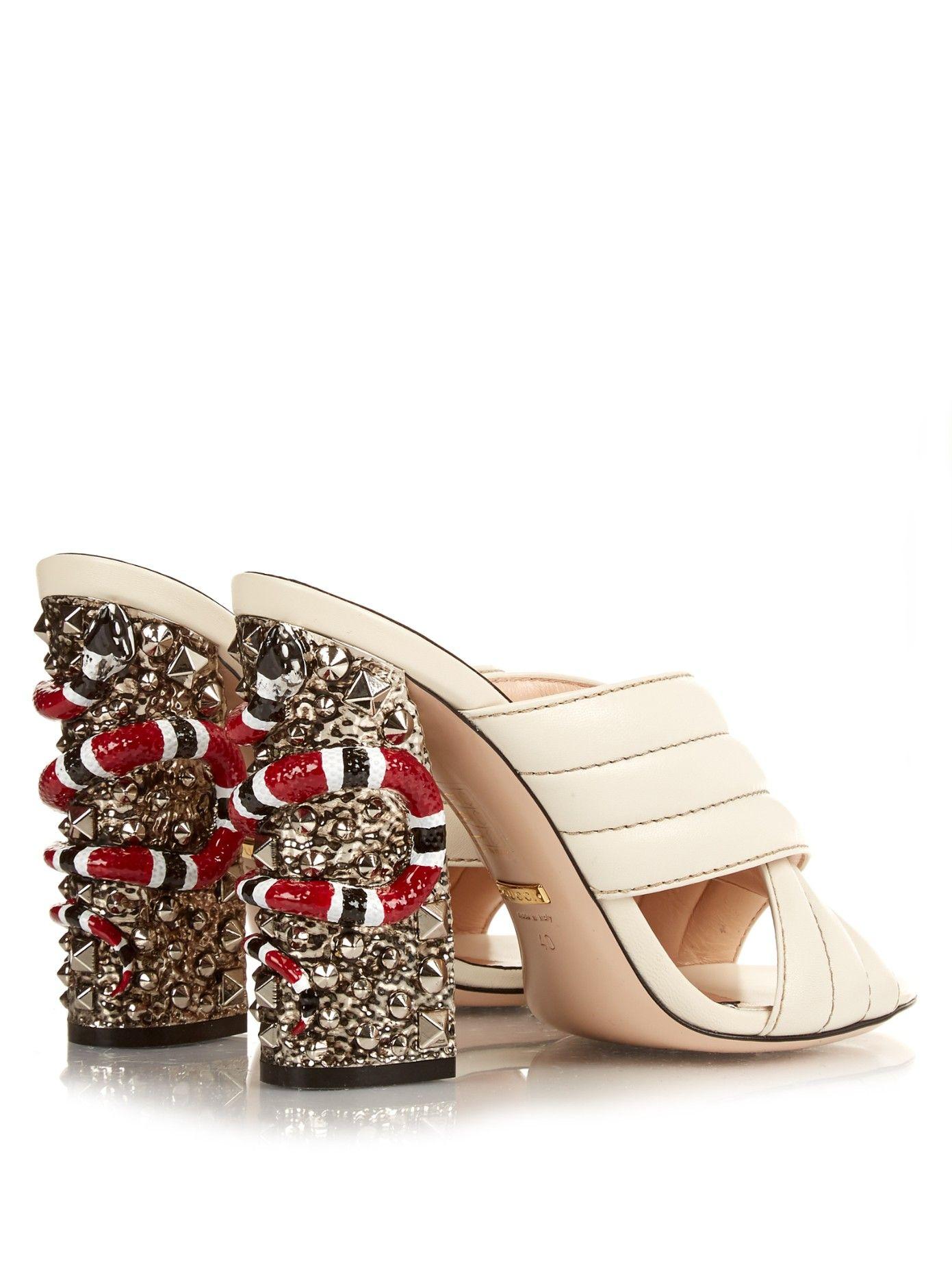 ae0ed0cb062 GUCCI Webby embellished-heel mules