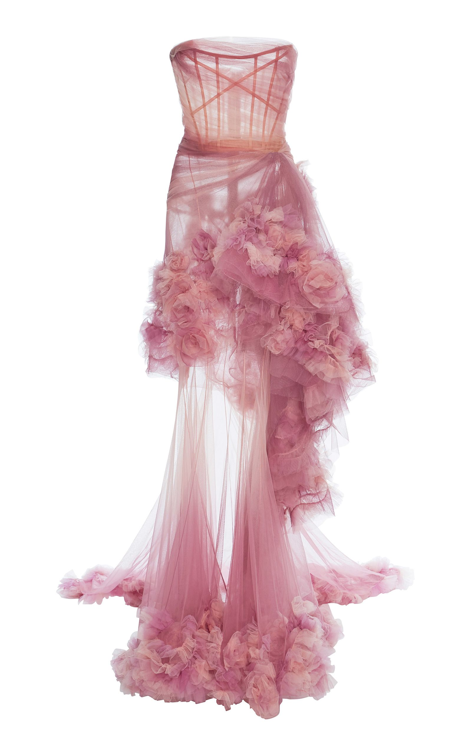 63e2a149aab Marchesa Ombre Tiered Gown In Pink Floral Evening Gown