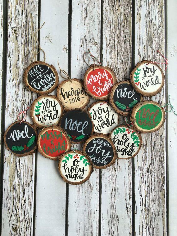 Wood slice ornaments Christmas crafts decorations, Diy