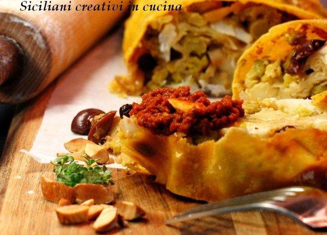 Strudel con broccoli alla siciliana, baccalà e tapenade di pomodori secchi | SICILIANI CREATIVI IN CUCINA | di Ada Parisi