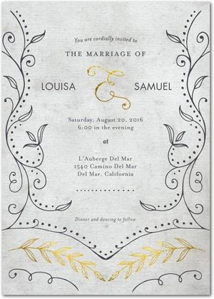 Graceful Vines Signature White Wedding Invitations Marchesa