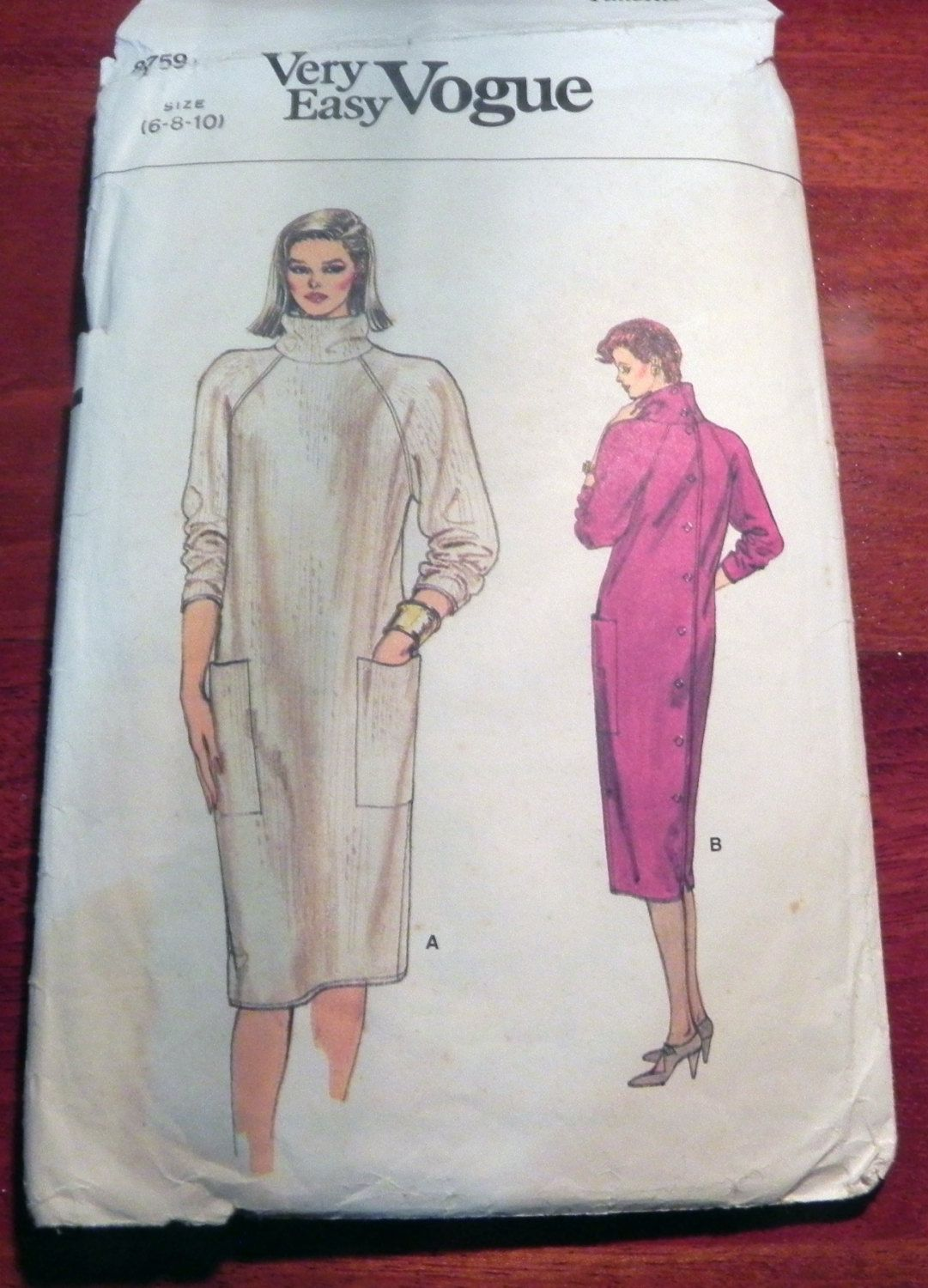 1980s Back Button Turtleneck Dress sewing pattern Very Easy Vogue ...