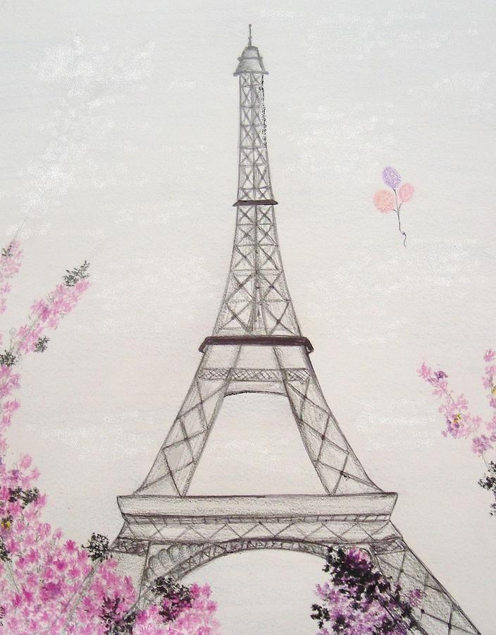 Картинки эйфелевой башни карандашом для срисовки, куколка