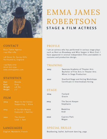 Orange Simple Acting Resume  Simple Resume Template