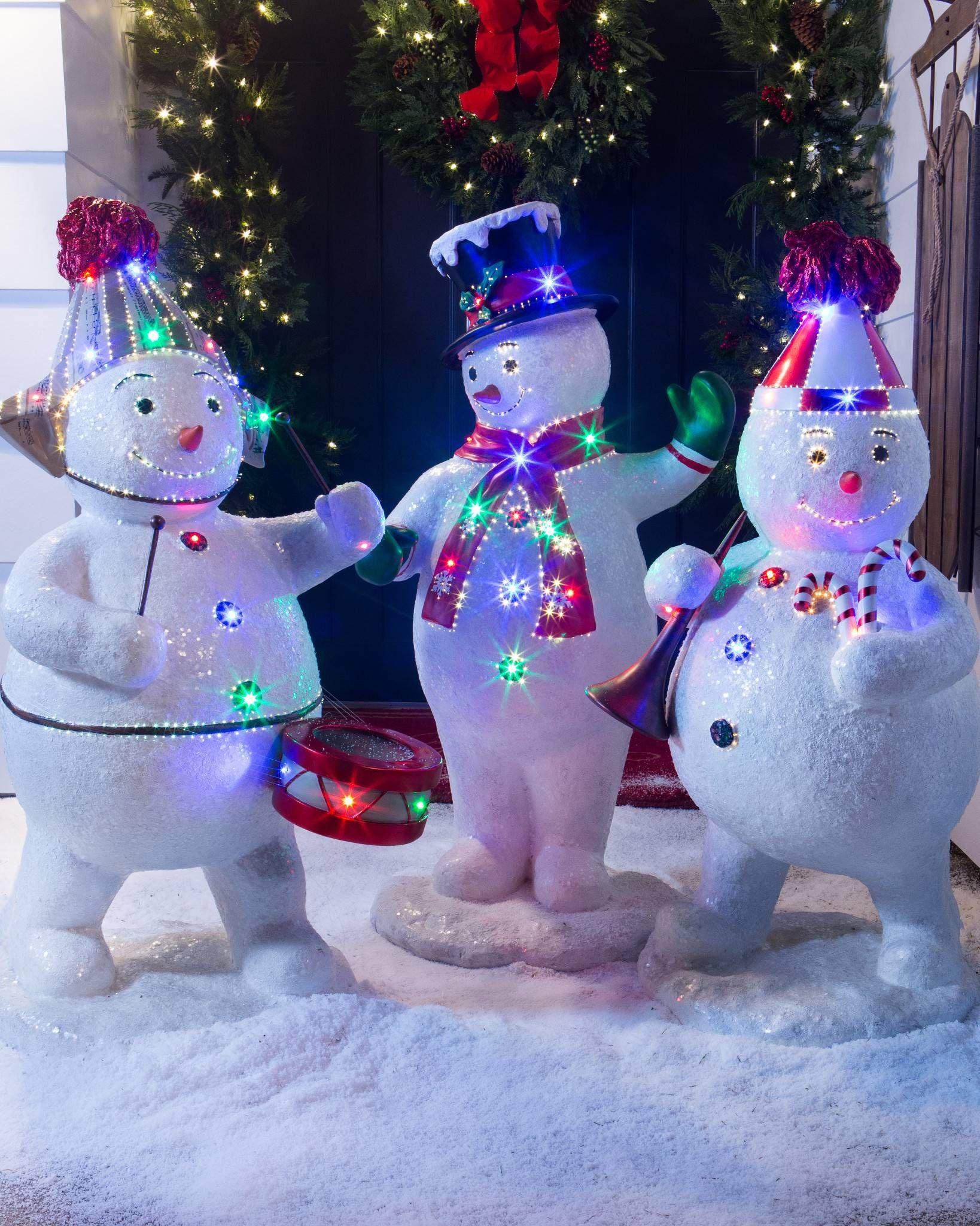 Outdoor Snowman Christmas Decorations.Outdoor Fiber Optic Snowman Band Outdoor Decorating Ideas