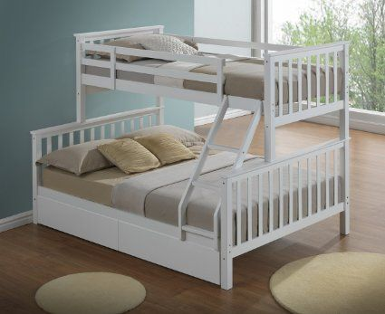Modern White Triple Bunk Bed With Drawers Ladder 3ft 4ft6