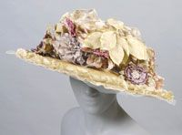 Woman's Hat 1905, American, Made of straw and lace with flowers