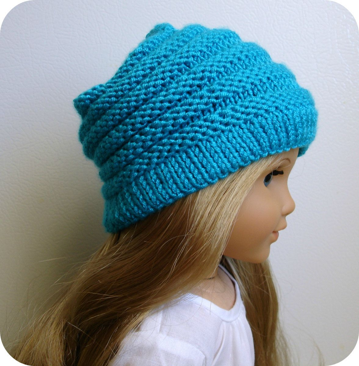 """Sophie - PDF Knitting Pattern For 18"""" American Girl Doll Slouchy Hat"""