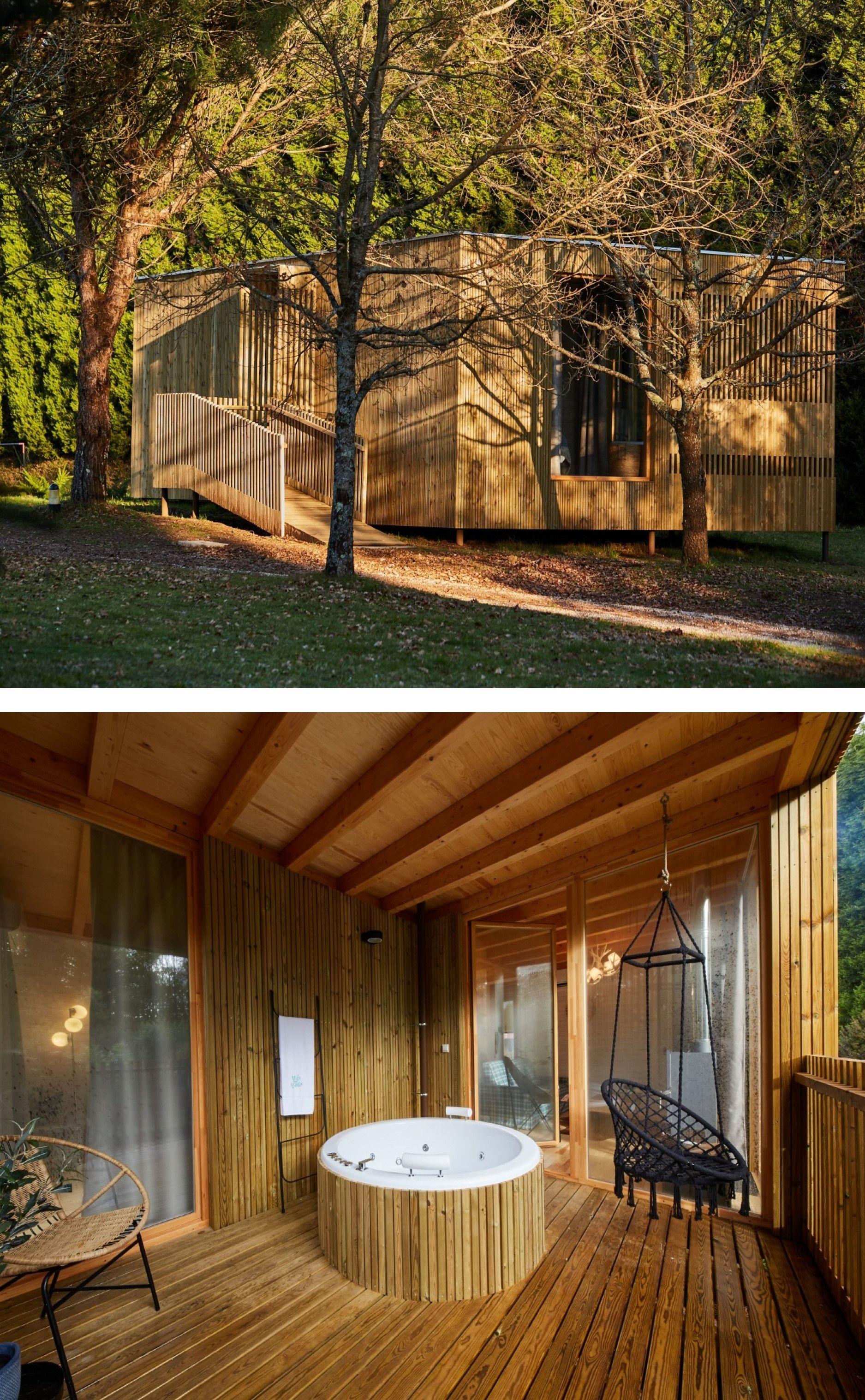 A Coruña Cabaña Accesible 2 Habitaciones Y Jacuzzi Exterior Jardines Piscina Barbacoa Y Columpios Alquiler De Cabañas Cabañas Estructuras Para Exterior