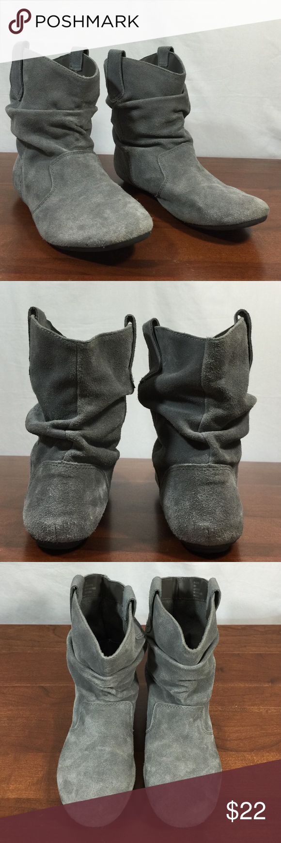 4c25fb2a3041 Steve Madden Slouch Ankle Boots Gray Suede wear to the suede on both boots  with some