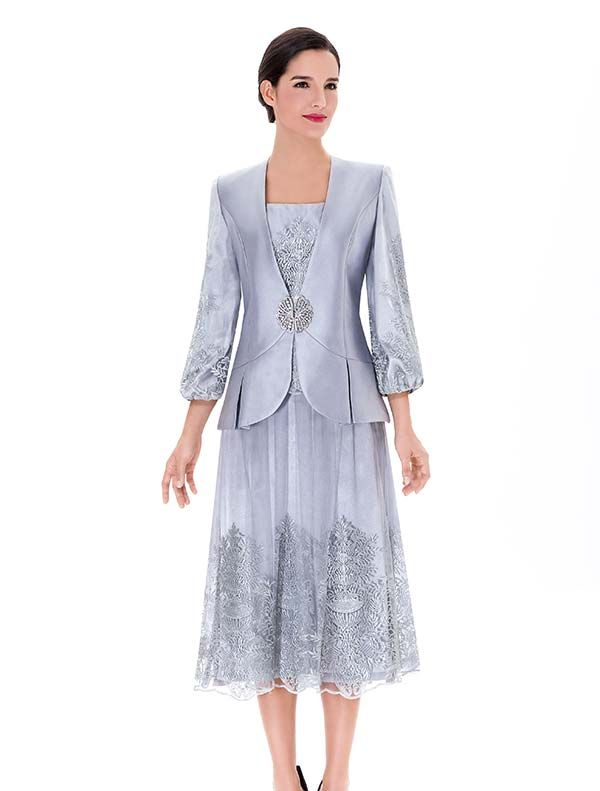 Serafina 3752 Ladies Silky Twill Skirt Suit With Mesh Layer A Ruha