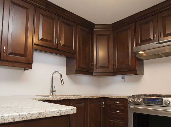 Dark Cherry Custom Kitchen Cabinets With Solid Wood Raised Maple Doors