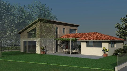 Maison contemporaine à toiture ardoises et toit terrasse végétalisé - construction maison terrain en pente