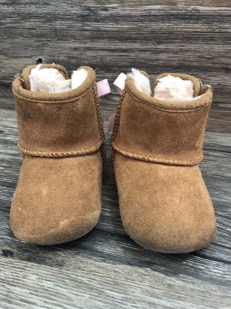 a912bfef25c Ugg Booties Boots With Pink Bow Infant Tan Suede Size 2 3 Baby 17B ...