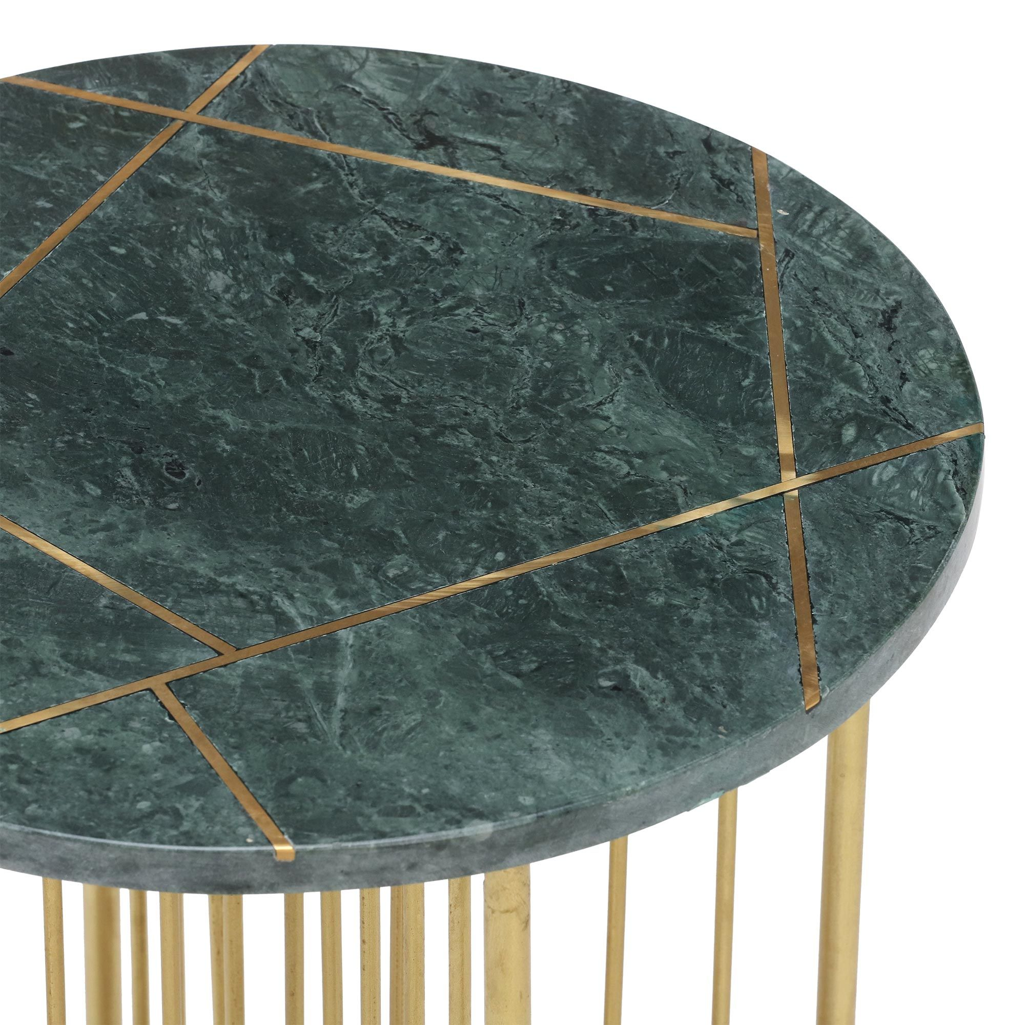 Lalit Side Table Green Marble With Brass Leg Occasional Tables