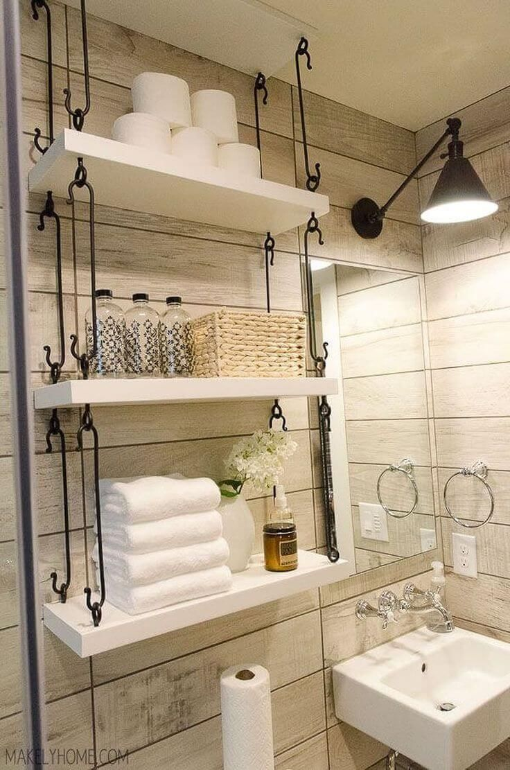 Badezimmer dekor bauernhaus farmhouse bathroom hanging overtoilet shelves  home  pinterest