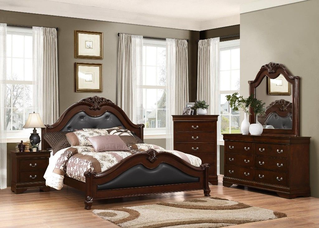Cambridge Brown King Bed With Faux Leather Myco Ca411k King