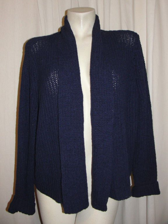 CHICO'S Shawl Neck L Sleeve Navy Blue Open Front Cardigan Sweater ...