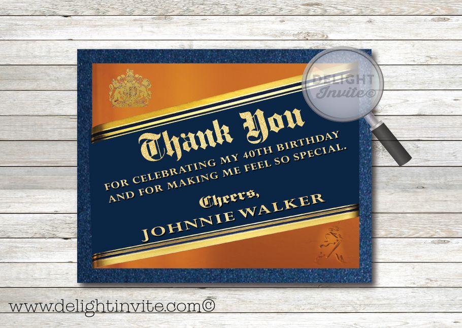 Johnnie Walker Blue Label 40th Birthday Thank You Cards Di 556ty Birthday Thank You Cards Birthday Thank You Johnny Walker Blue Label