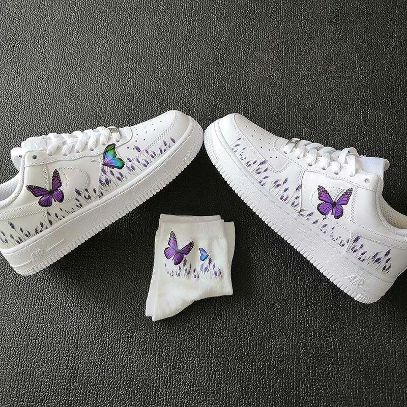 Custom Sneaker AF1 With Romantic lavender and purple