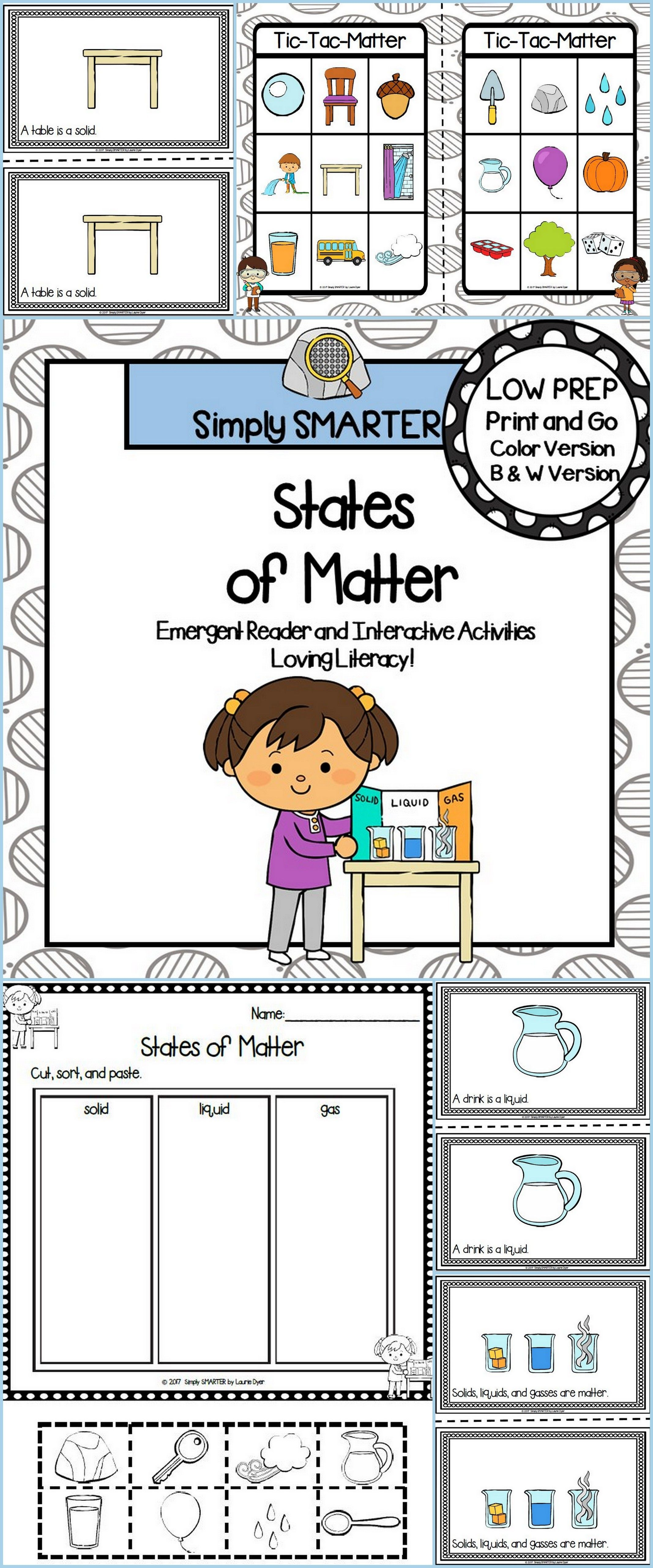 States Of Matter Emergent Reader Book And Interactive