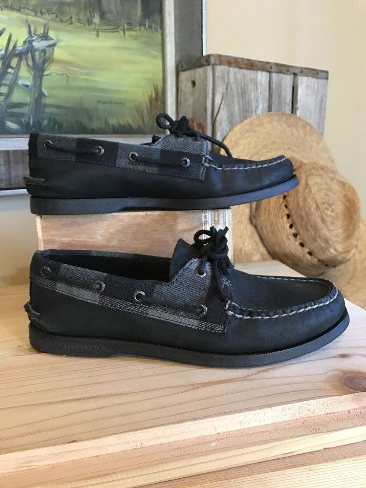 Sperry Top Sider Mens Size 8 Black Leather Plaid Non Marking