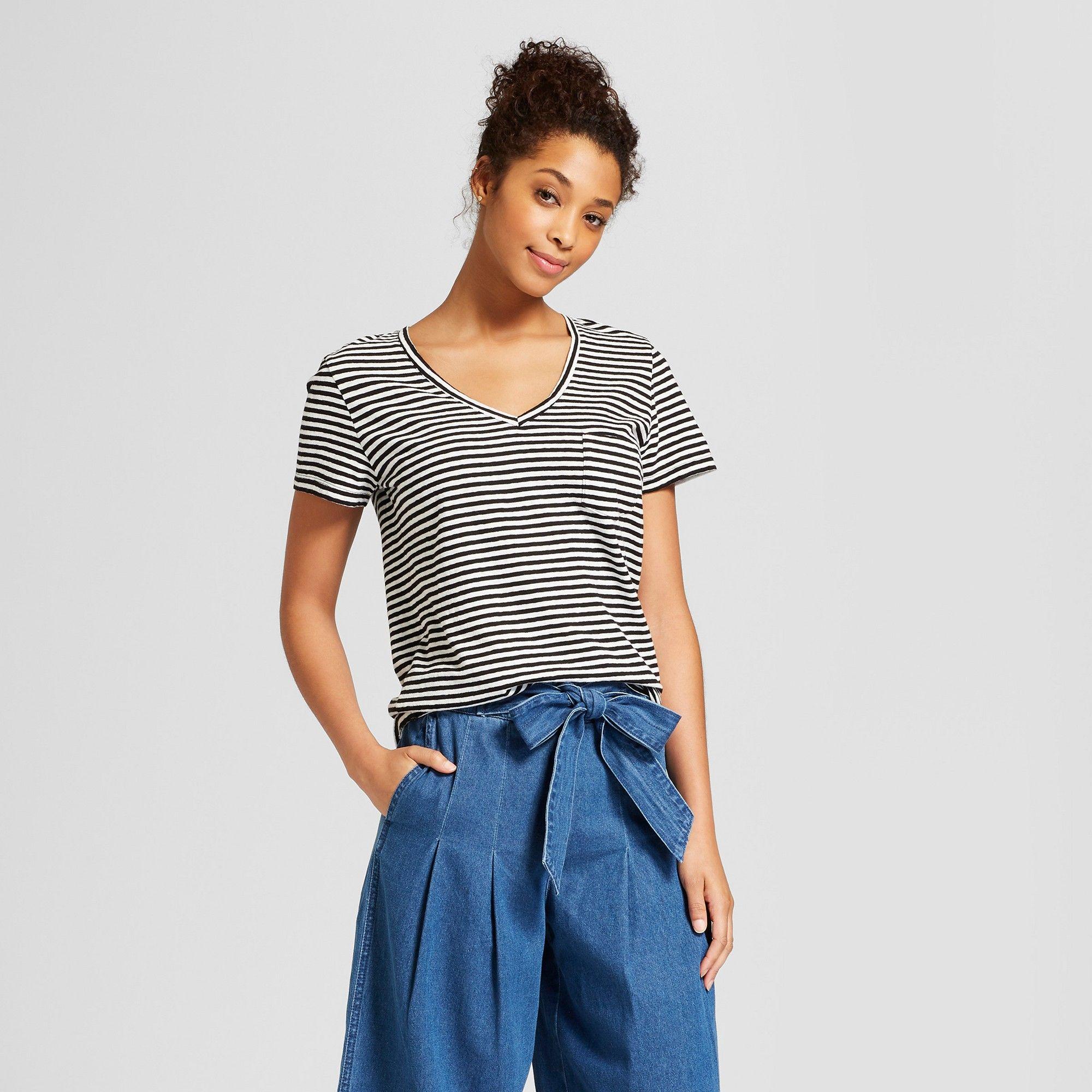 a56b1cf978 Women's Monterey Pocket V-Neck Stripe T-Shirt - Universal Thread ...