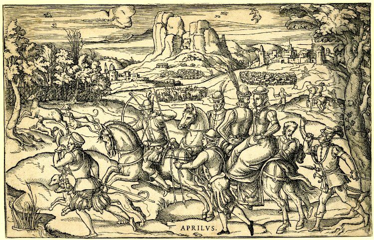 April: landscape with, in the foreground, people on horseback hunting down a stag.  c.1580  Woodcut