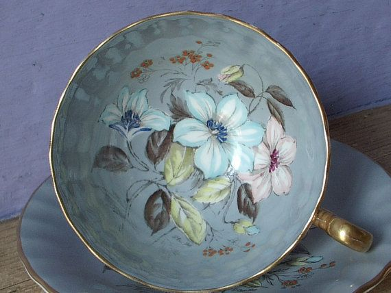 RARE Antique Aynsley tea cup set, hand painted tea cup and saucer, grey bone china