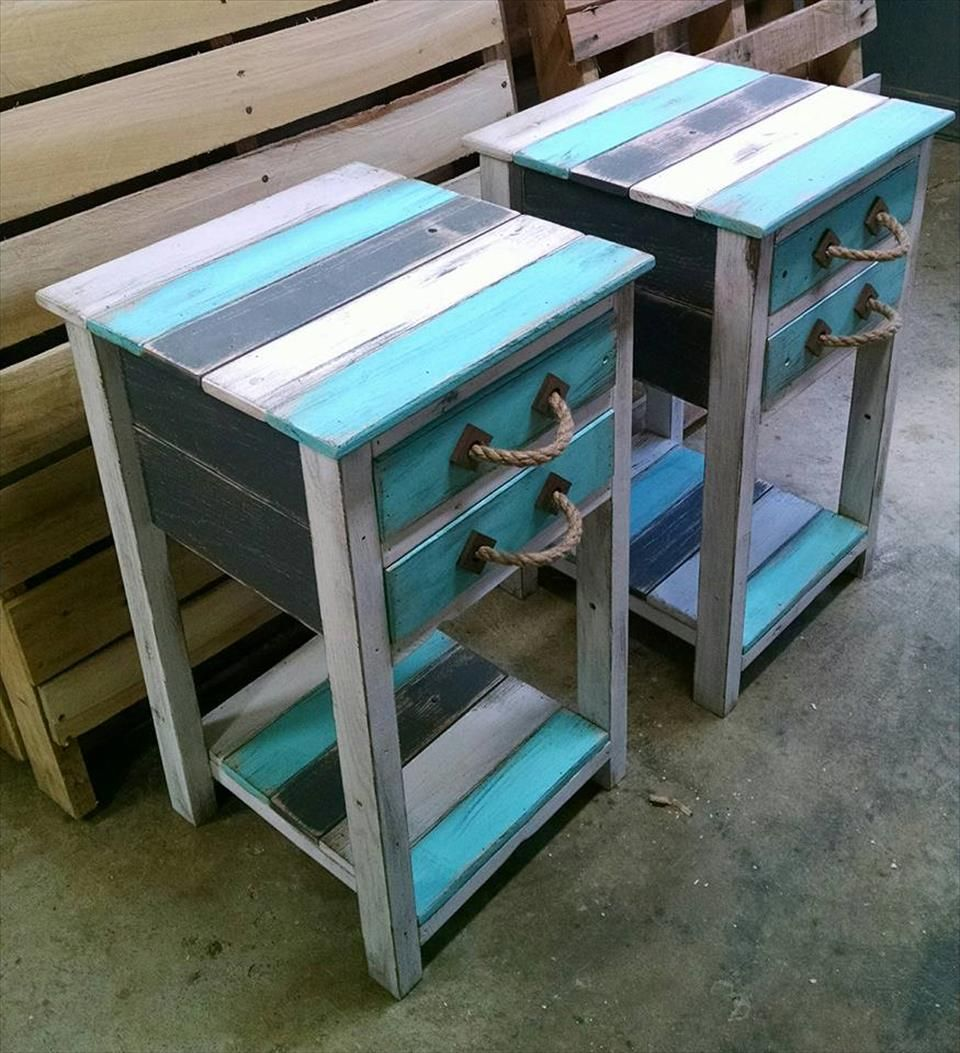 Charmant Recycled Pallet Side Tables