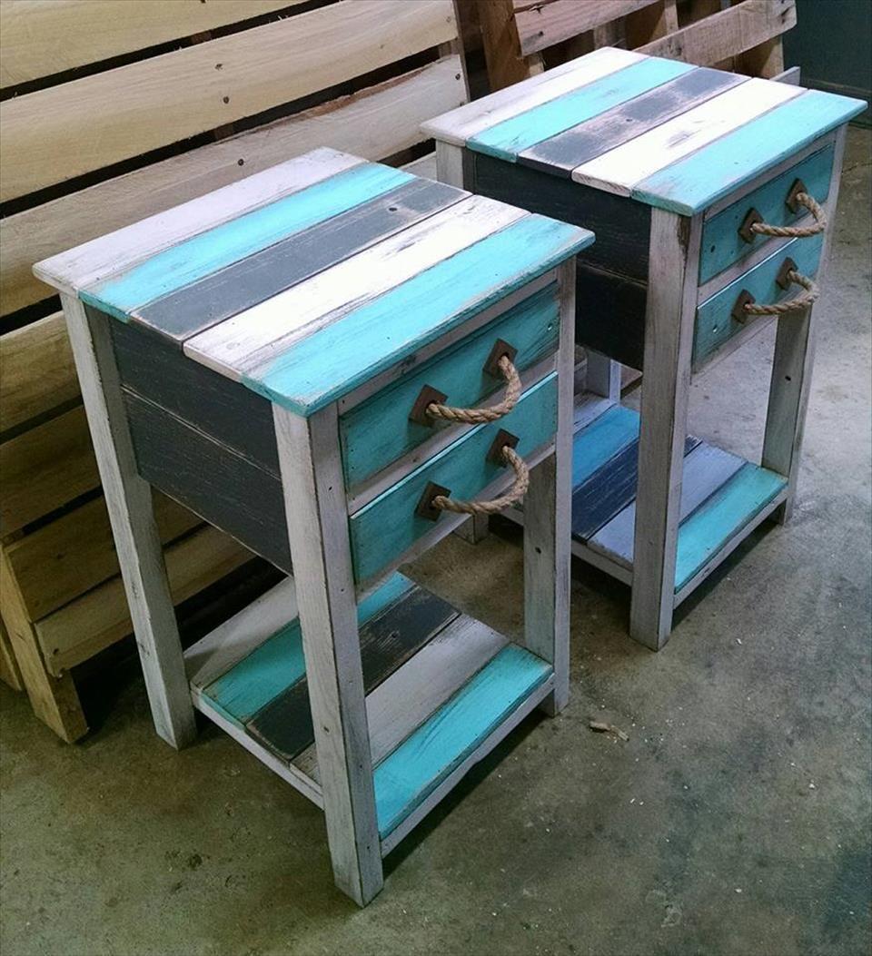 rustic pallet end tables pallet ideas pallet side. Black Bedroom Furniture Sets. Home Design Ideas