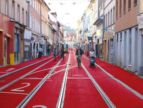 Austrian architects Sandra Janser and Elisabeth Koller have painted streets in Graz, Austria to resemble a running track as part of a regeneration project.