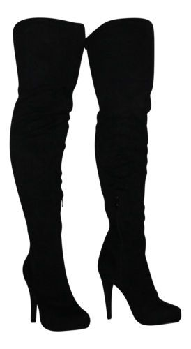 886cf0f62 Sexy Black Faux Suede Over Knee Thigh High Heel Stiletto Platform Stretchy  Boots