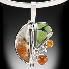 Included quartz, green turquoise, mexican fire opal, and hessonite garnet set in silver