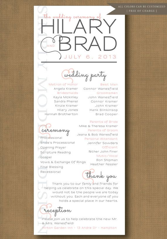 wedding ceremony program, order of events, ceremony, unique - Event Program