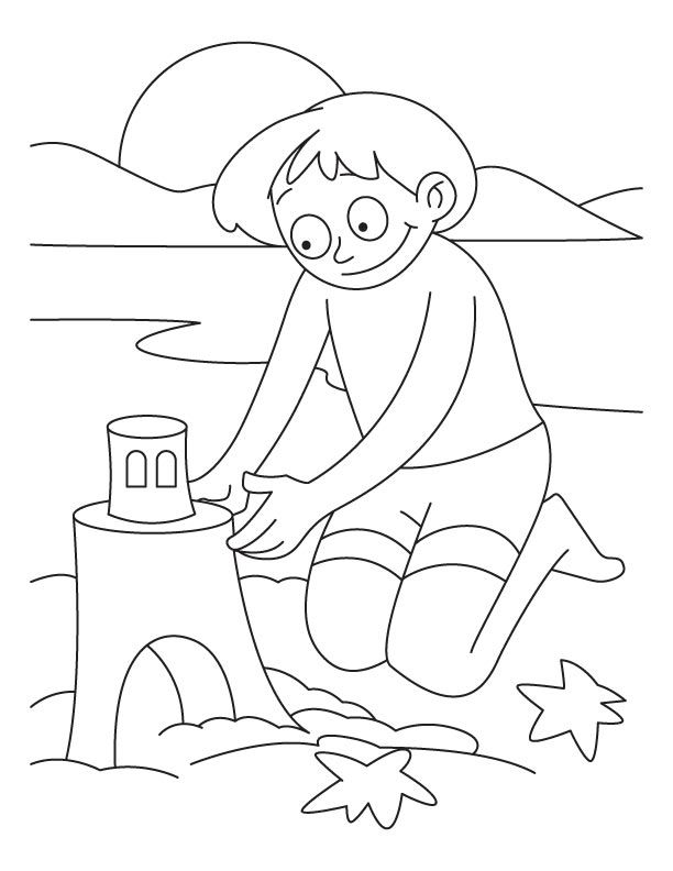 A boy making castle with sand on the beach coloring pages Kids - new 4th of july coloring pages preschool