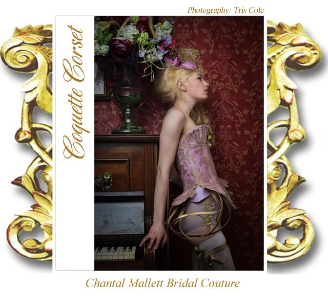 Unique & Alternative, Made-to-measure, Corseted Wedding Dresses by Designer Chantal Mallett. Coquette corset. www.18thcenturyco... #wedding #bridal #corset #elegant #couture #pink #ballgown #lace #realcouture #designer #chantalmallett