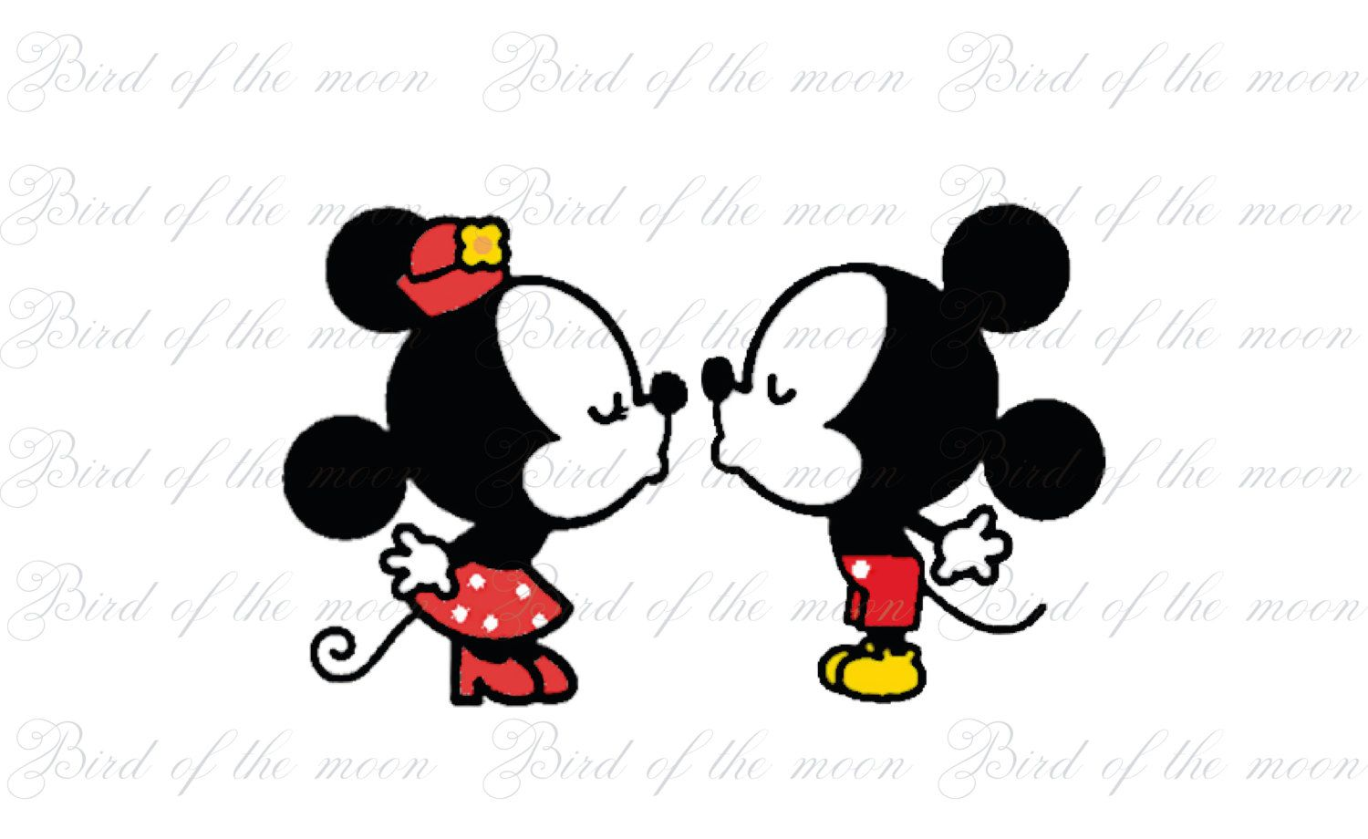 Mickey Mouse And Minnie Kissing