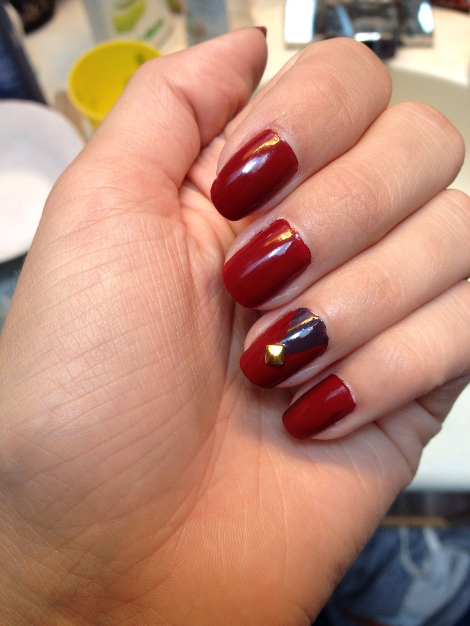 Deep red nails with grey triangle and gold square | Nail polish ...