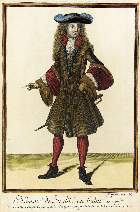 """1687 French Fashion plate """"Recueil des modes de la cour de France, 'Homme de Qualité, en Habit d'Épée'"""" at the Los Angeles County Museum of Art, Los Angeles:"""