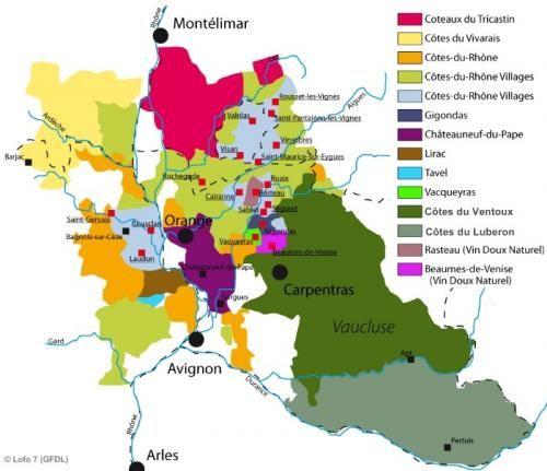 Map of Rhone Wine Region  France  Sommelier  Oenology