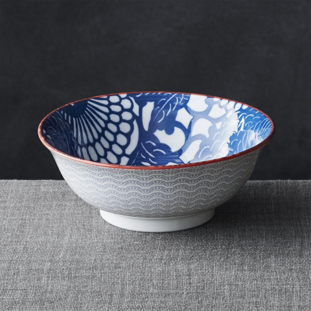"8/"" Japanese Porcelain Ramen Rice Noodle Bowl Floral Leaves 2 PCS Made in Japan"