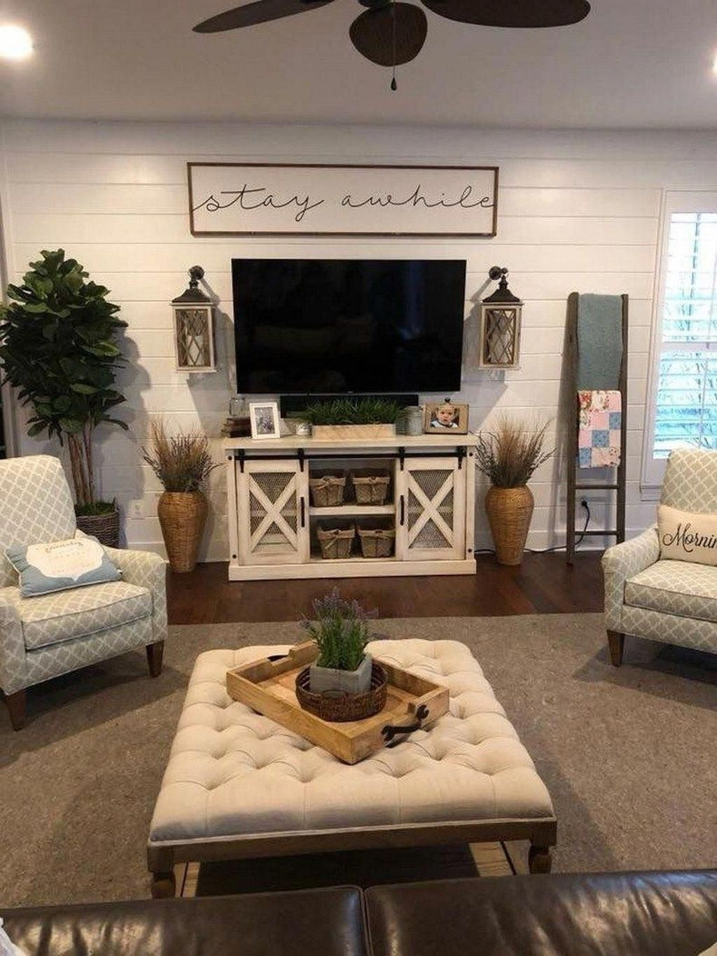 wall decor above couch | Living room tv stand, Farm house ...