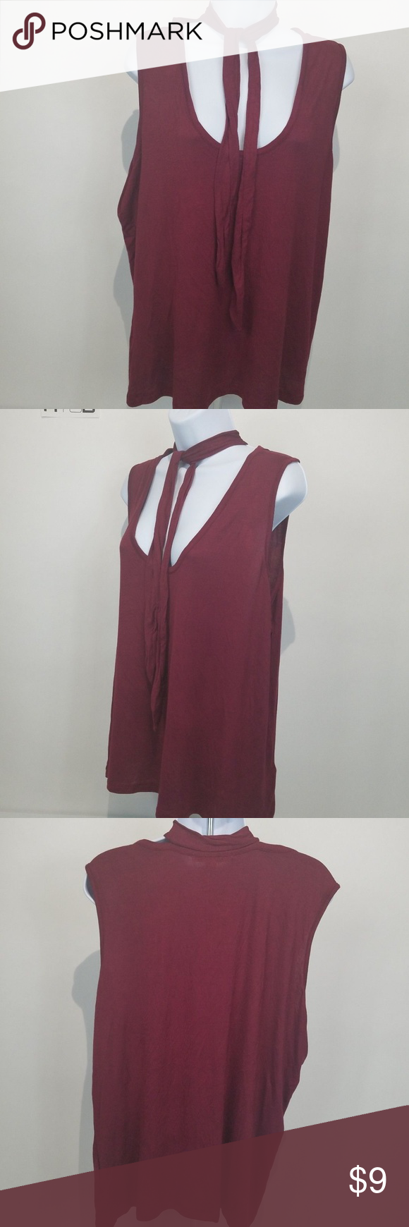 f9c5e106c51 Extra Touch Womens Plus Size 3X Top Burgundy Red Extra Touch Womens Plus  Size 3X Top Burgundy Red Sleeveless Tie Choker NWT C13 Extra Touch Tops  Blouses