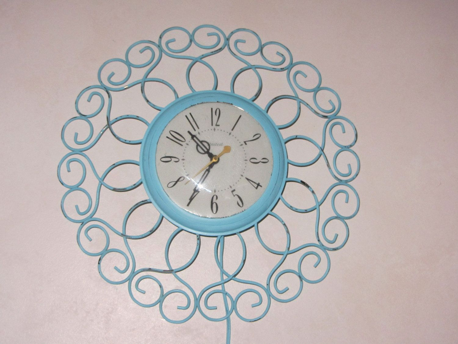 Vintage shabby aqua electric wall clock united eames era vintage shabby aqua electric wall clock united eames era painted and distressed amipublicfo Images