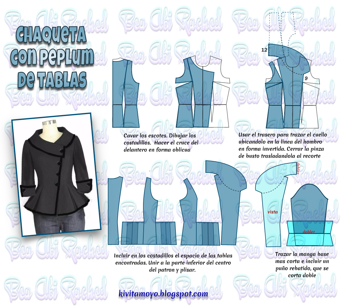 KiVita MoYo : CHAQUETA CON PEPLUM DE TABLAS | A.......sew patterns ...
