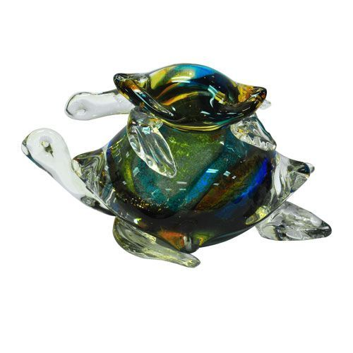 "New 7/"" Hand Blown Art Glass Turtle Sculpture Figurine Statue Blue Clear"