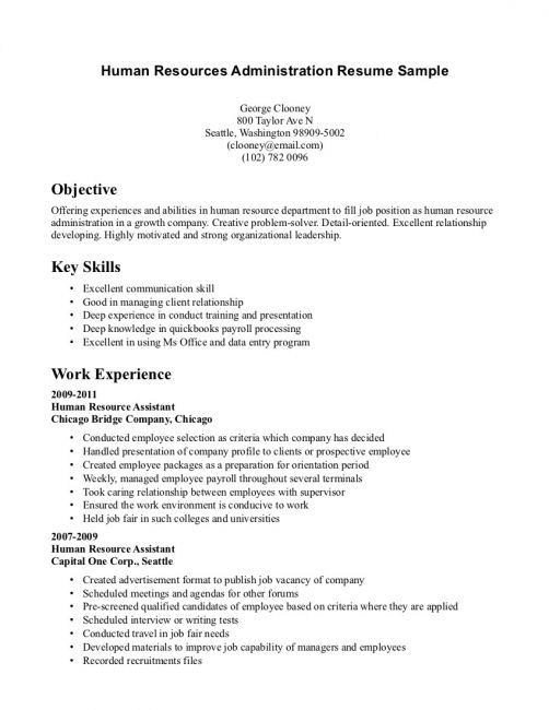 Human Resources Assistant Resume Hr Example Sample Employment Human