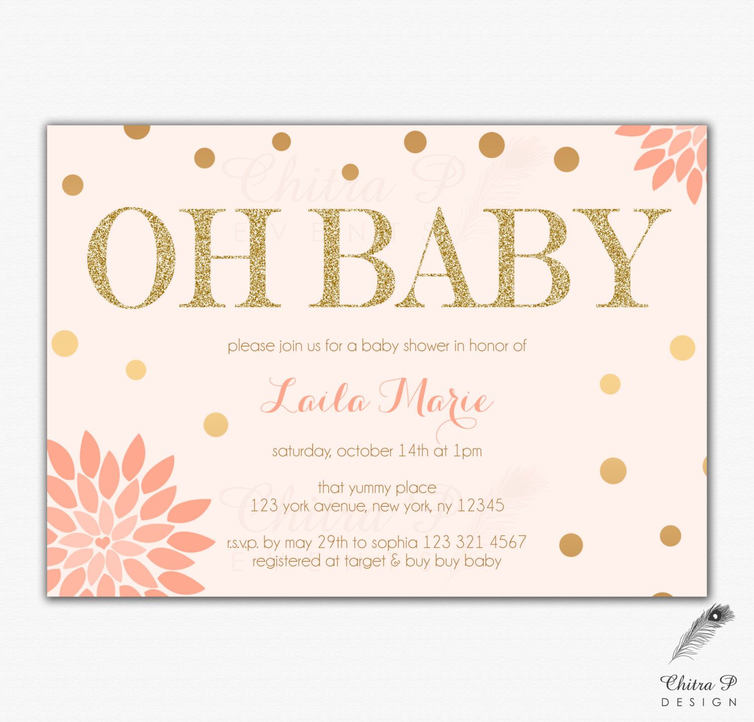 Blush Pink & Gold Baby Shower Invitations - Printed, Glitter Floral ...