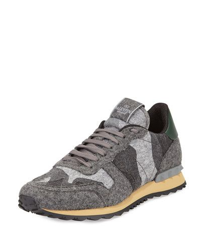 37a6278a5ceec N3BNN Valentino Rockrunner Camo-Print Felt Sneaker, Gray | MY STYLE in 2019  | Sneakers, Mens designer shoes, Shoes